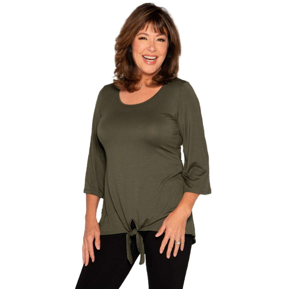 Knotted Bottom Women's Top Tops Olive / S Covered Perfectly