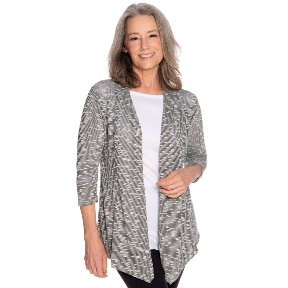sliver gray lightweight jacket worn with a white top