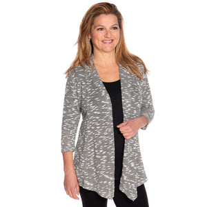 Silver gray woman's jacket worn with black top