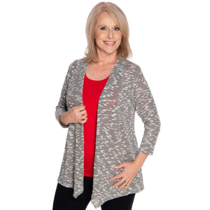 Silver gray woman's jacket worn with a red top