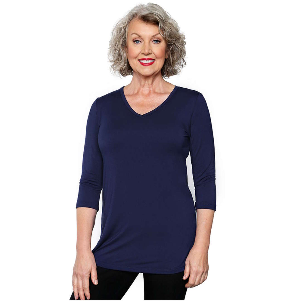 Women's V-neck Top Tops s / navy Covered Perfectly