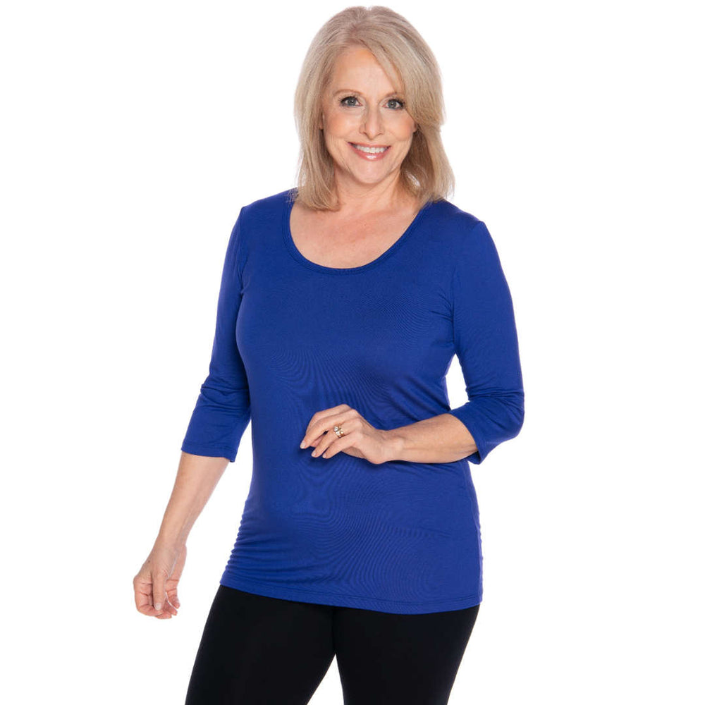 Scoop neck royal blue women's top