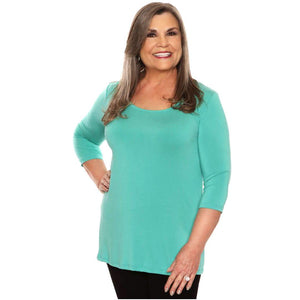 Simple comfort women's top on sale in aqua