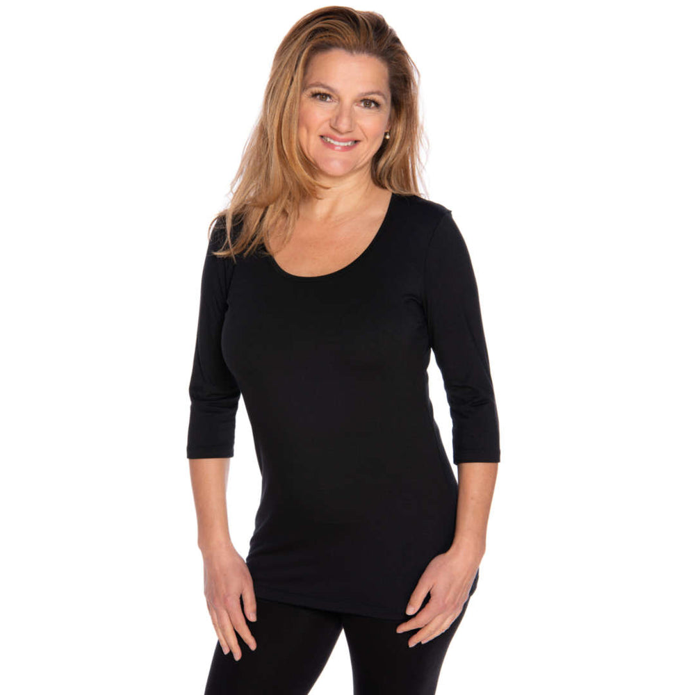 Black scoop neck women's top
