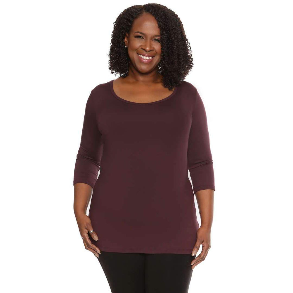 Maroon women's scoop neck top
