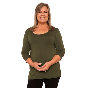Women's scoop neck top on sale in olive