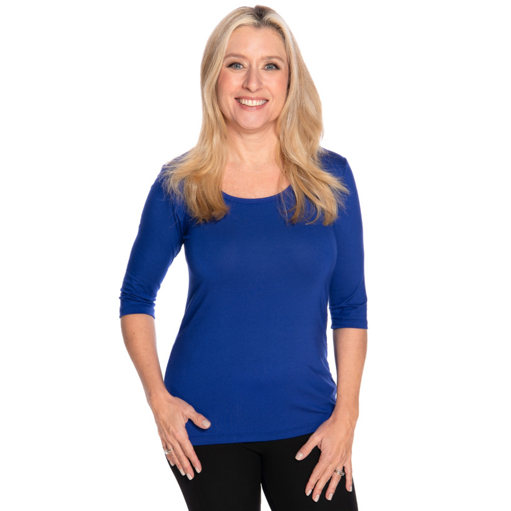 Royal blue scoop neck women's petite