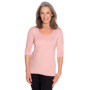 Pink women's scoop neck womens top