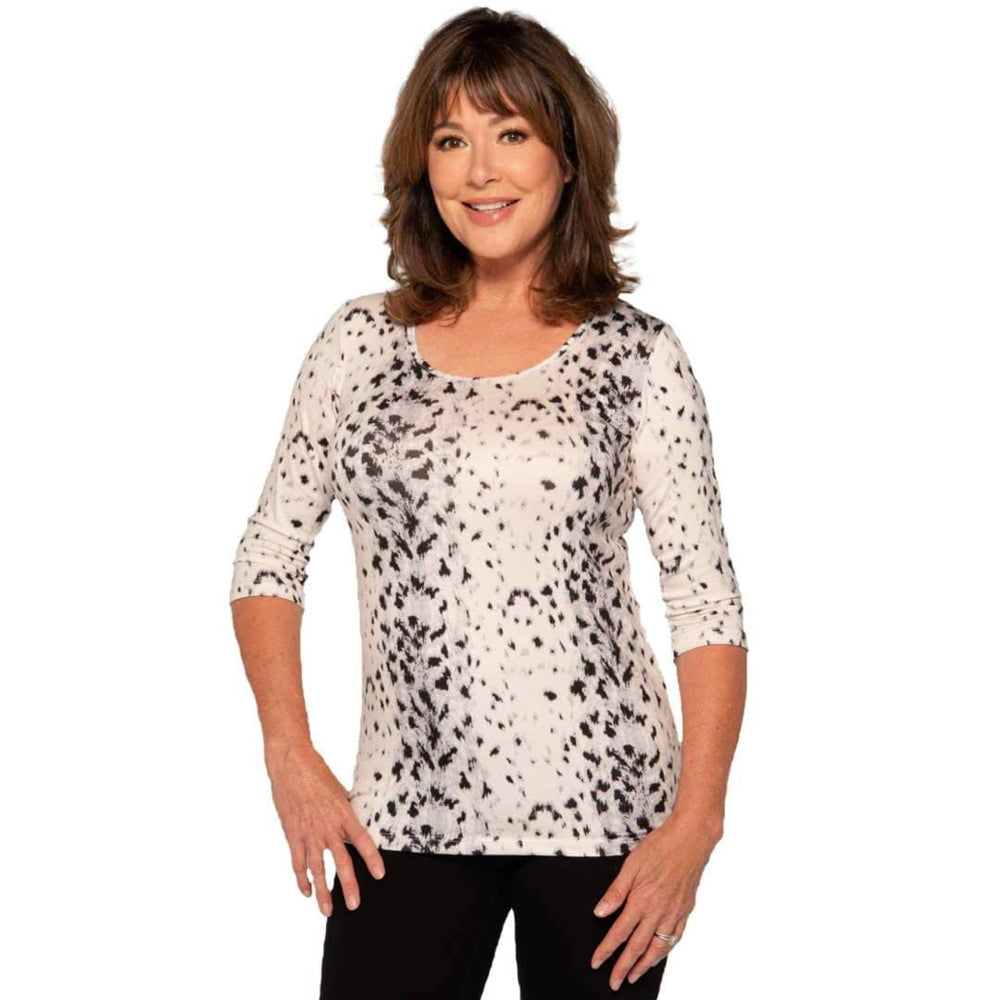 snow leopard scoop neck women's top