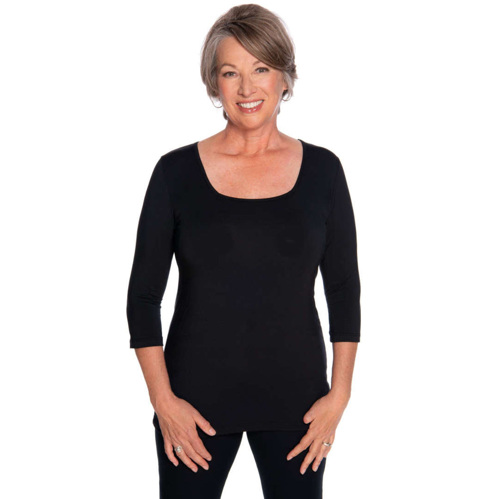 black square neck woman's top