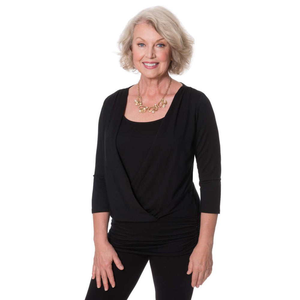 black wrap over women's top