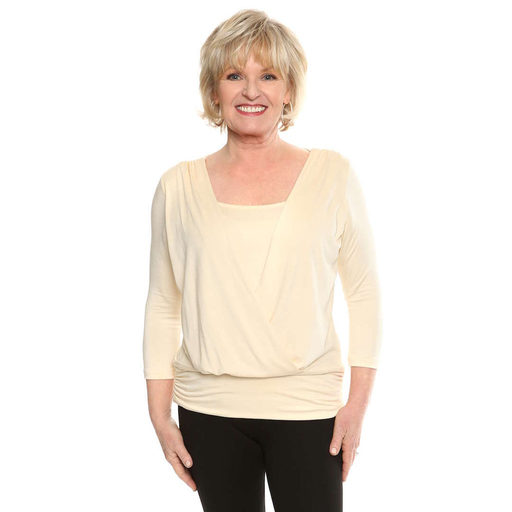 Flattering Wrap Over womans top