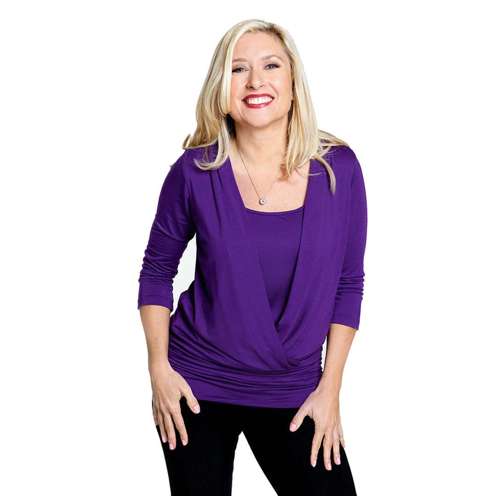Wrap over women's top to cover your tummy  in violet