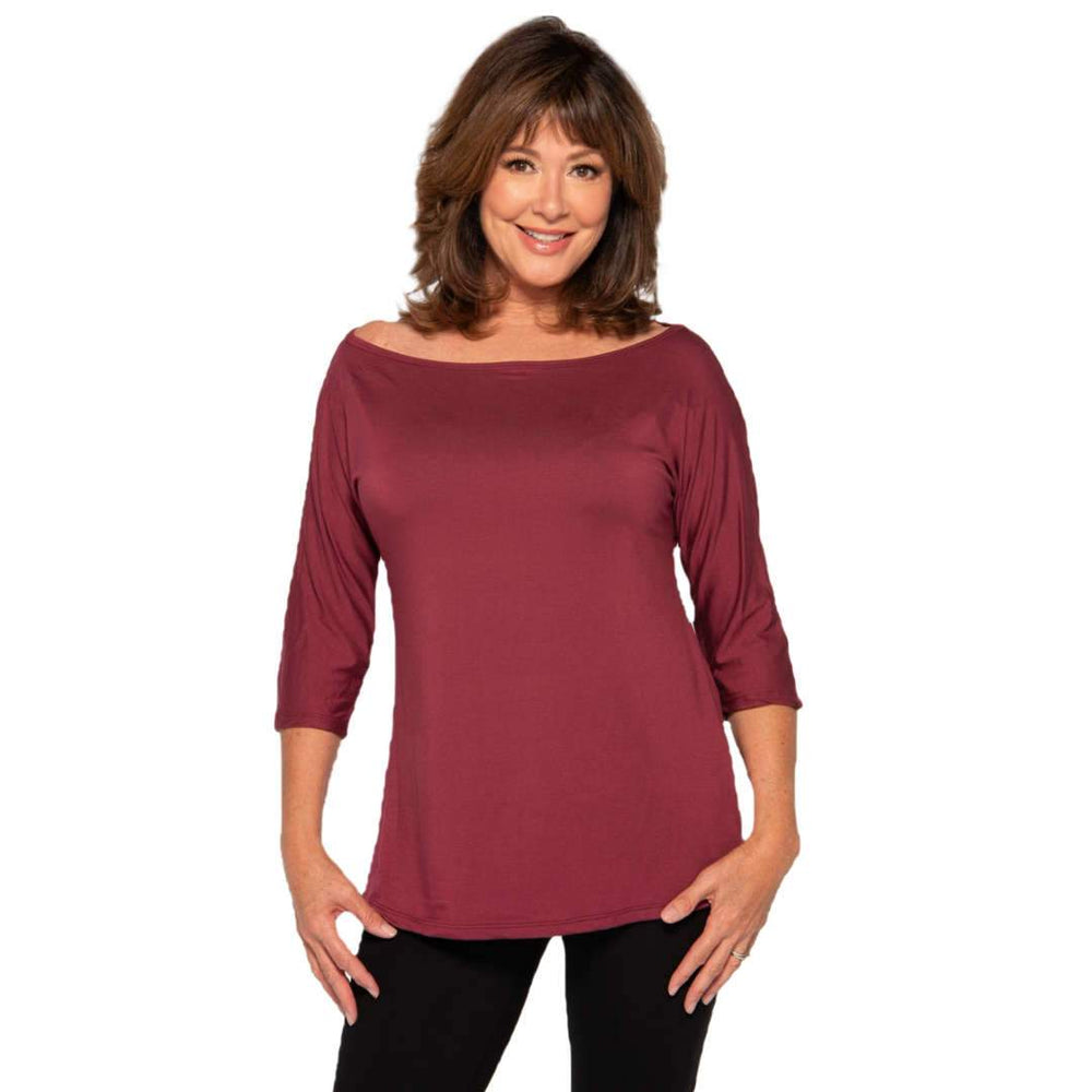 wine off the shoulder women's top
