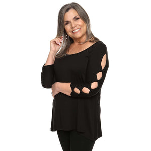 black women's top with cutout sleeves peek-a-boo