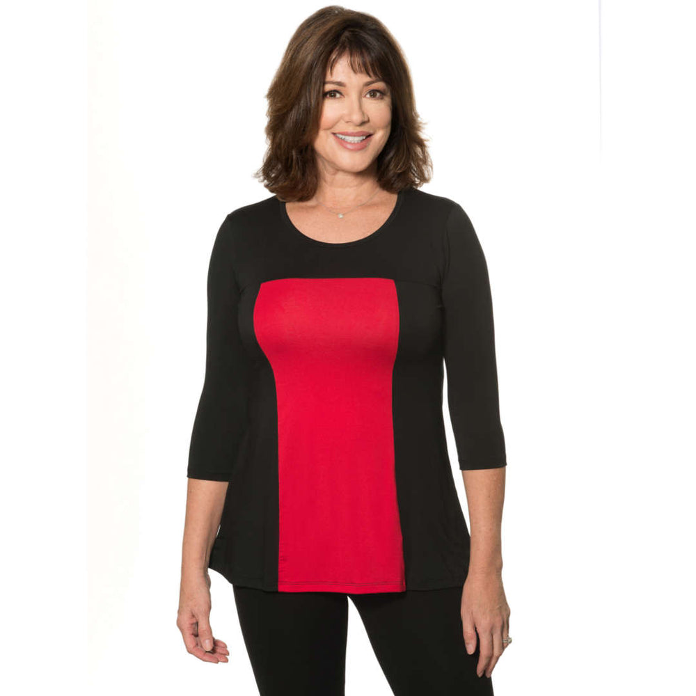 Black and red color block women's top