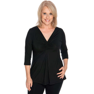 black women's top, gathered front