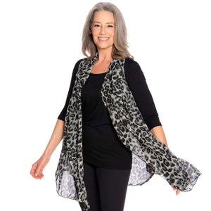 black and gray leopard chiffon vest, flowing loose