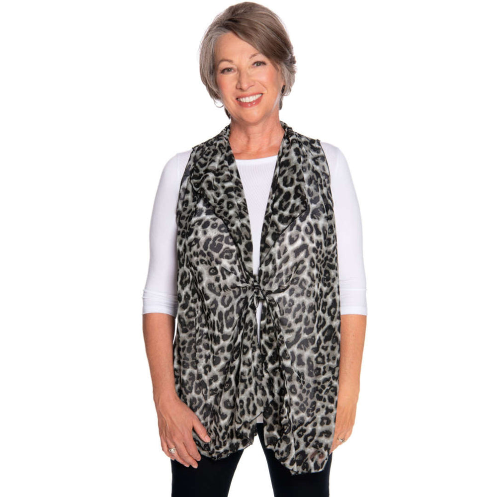 black and gray cascading vest the perfect cover up