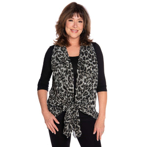 Cascading vest in black and gray leopard, tied to hide your tummy