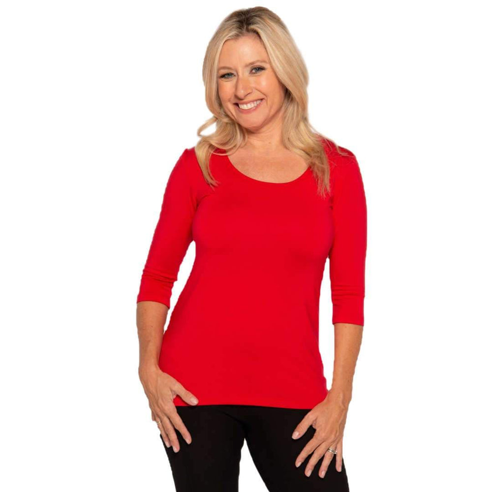 red scoop neck women's petite top