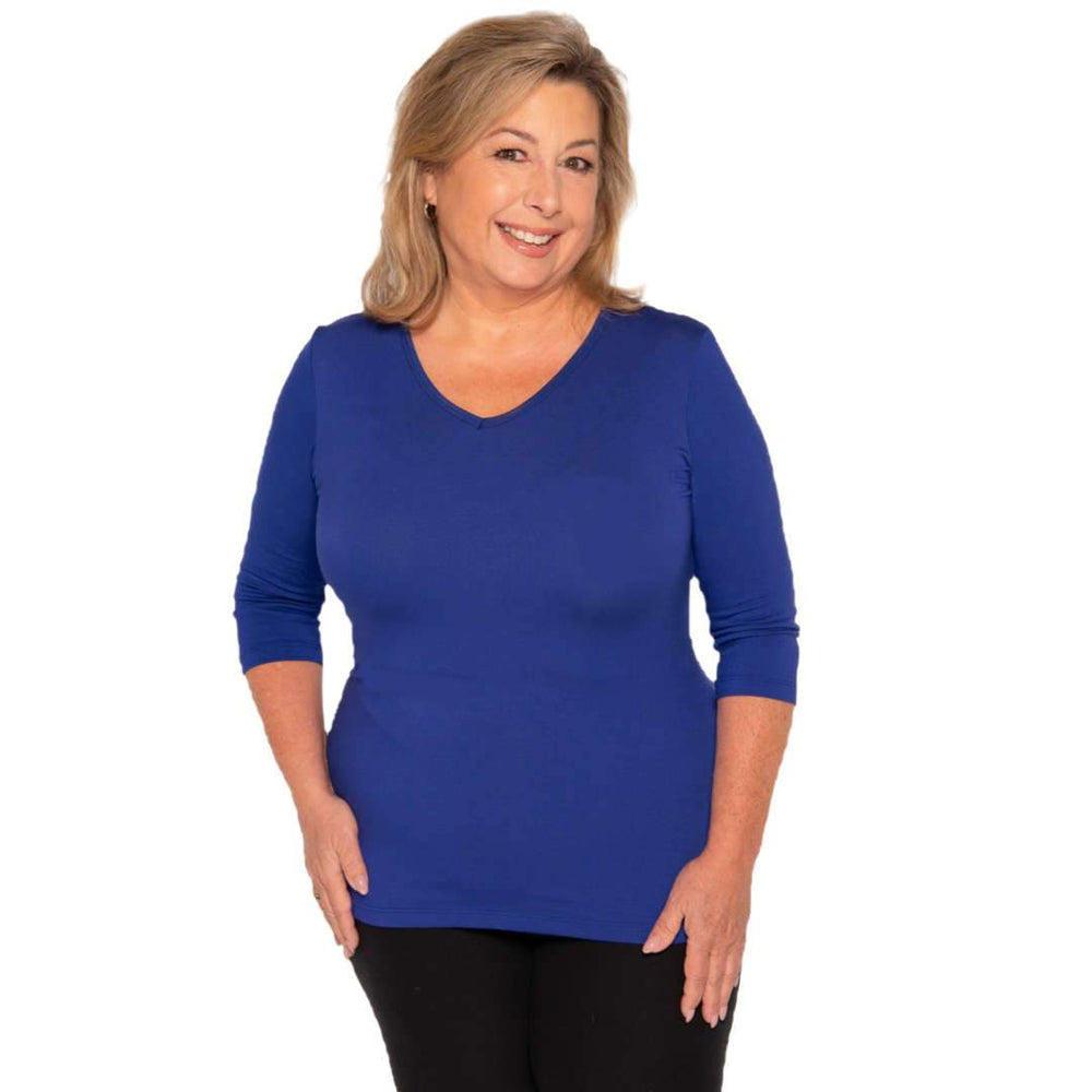 Royal blue v-neck women's petite size top