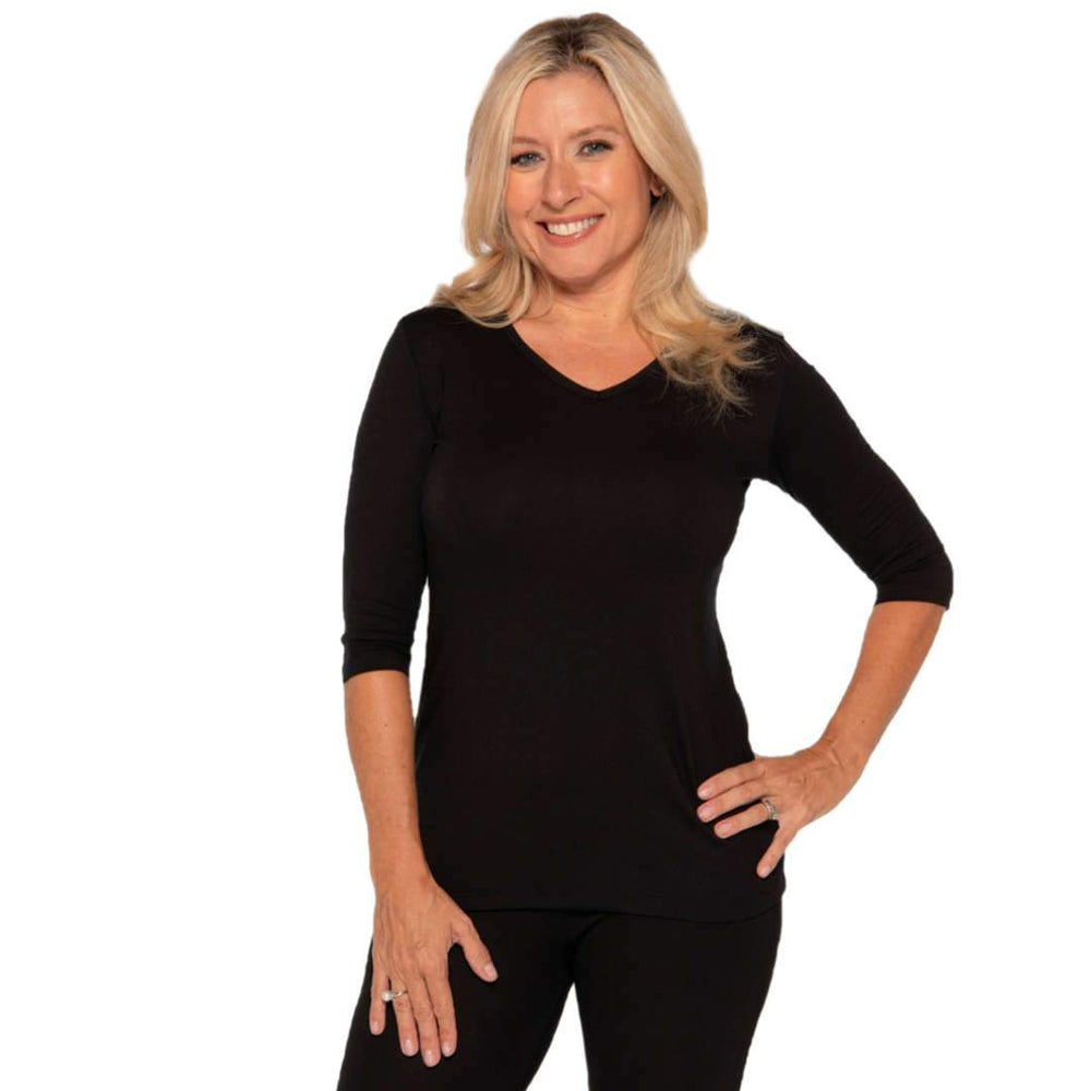 Black v-neck women's petite size top