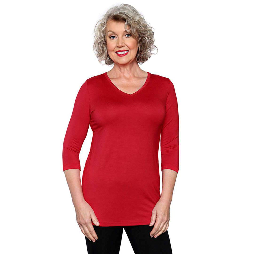 red women's v-neck top