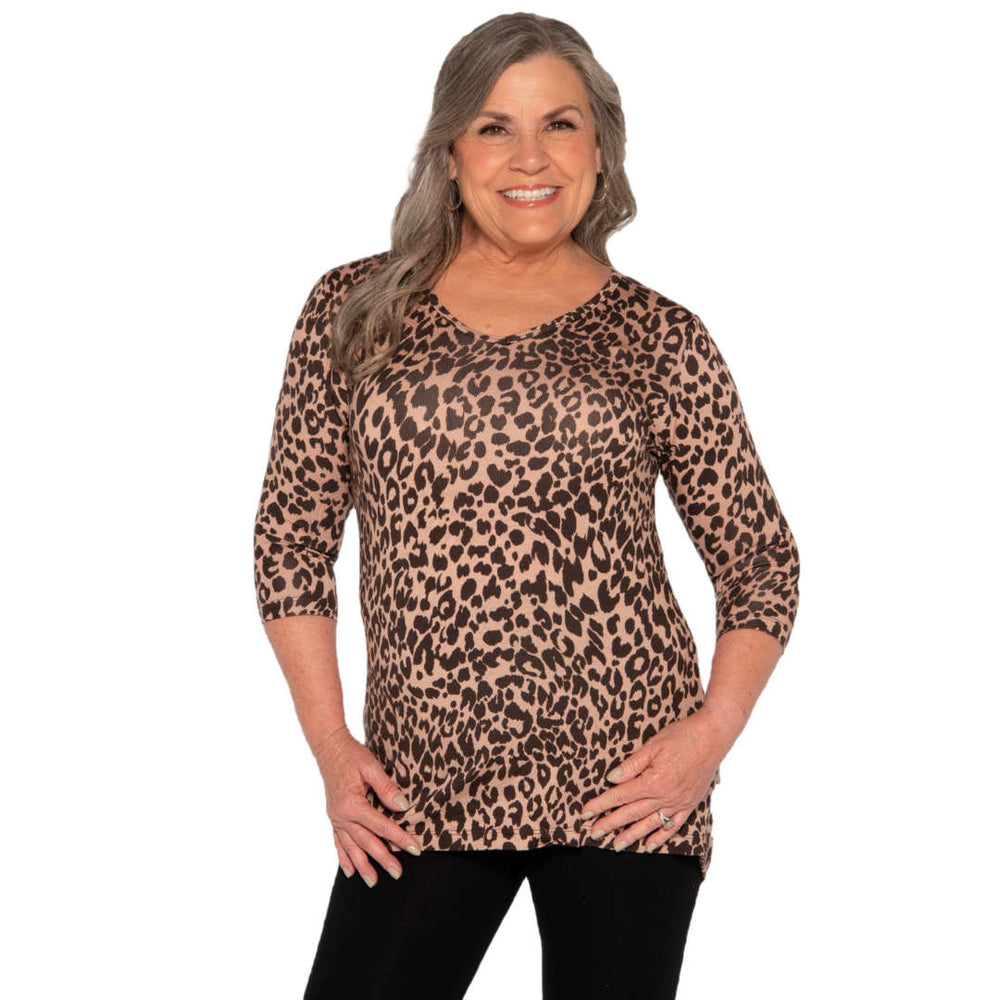 leopard print women's v-neck top