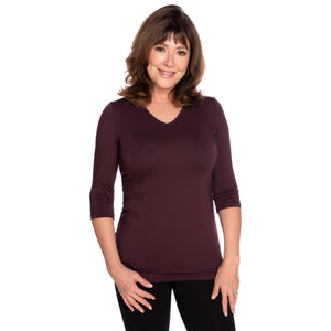 maroon women's v-neck top on sale