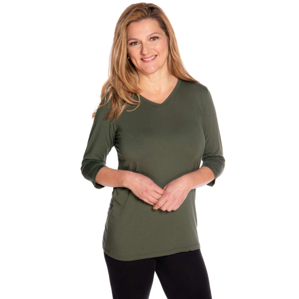 Olive v-neck women's top on sale