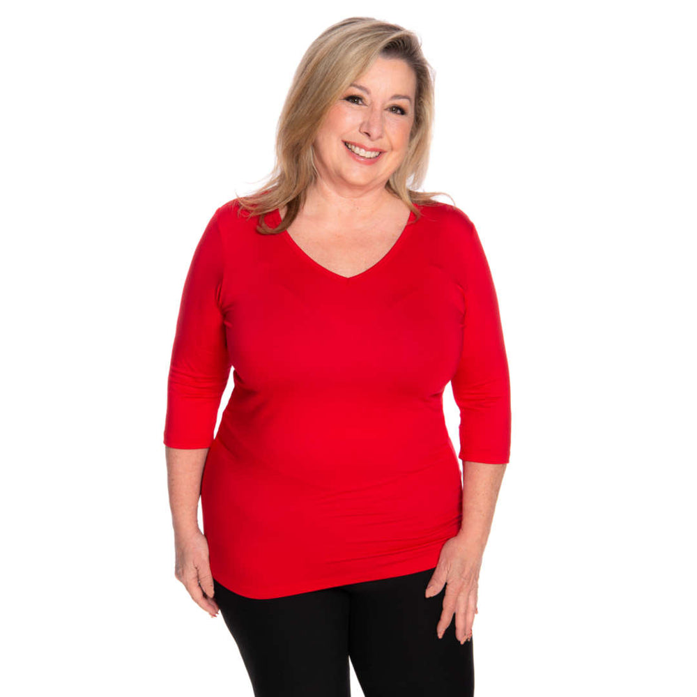 Red v-neck women's petite size top
