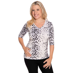 V-neck snow leopard woman's petite top