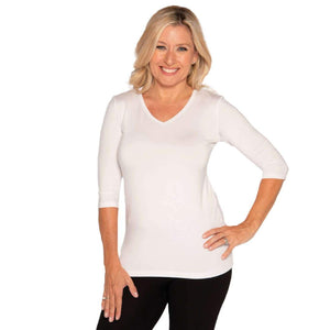 white v-neck women's petite size top