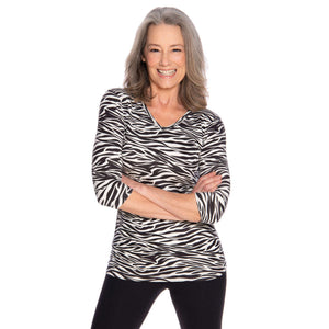 Zebra print women's v-neck top