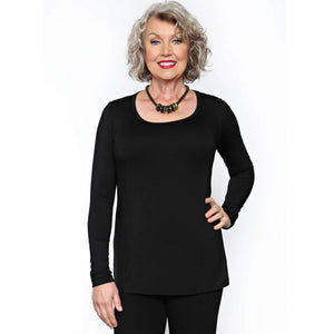 black long sleeved women's scoop neck top