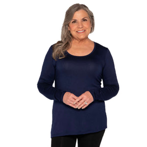 Navy scoop neck long sleeve women's top