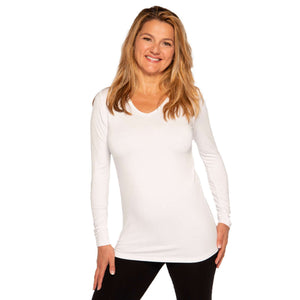 White long-sleeved v-neck women's tops