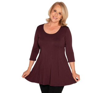 Fit and Flare Special Tops Maroon / S Covered Perfectly