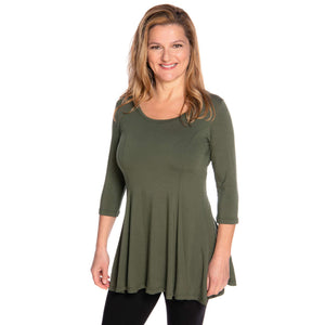Fit and flare women's top in olive on sale