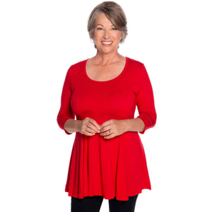The fun and flirty fit and flare women's top in red