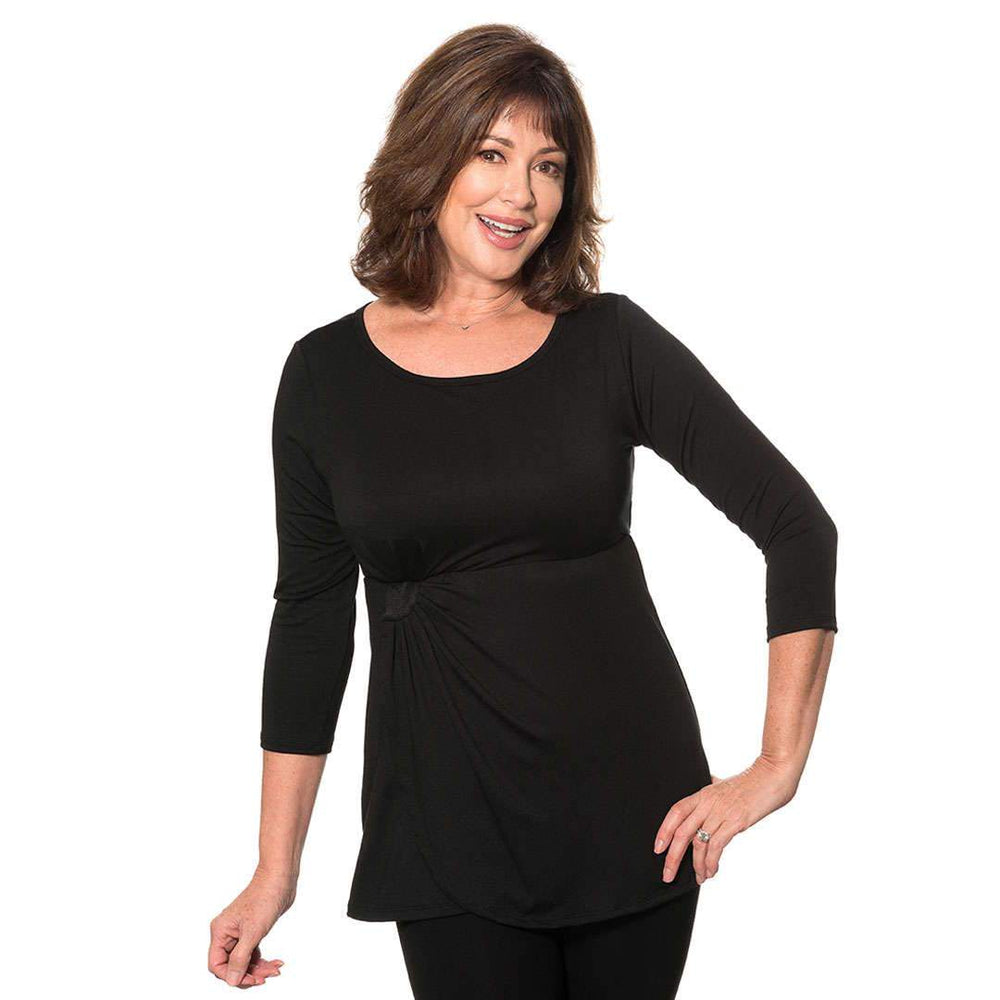 black empire waist women's top
