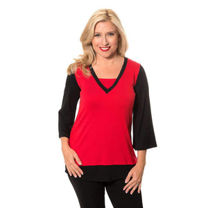 Layered V-Neck Woman's Top Tops Black-Red / S Covered Perfectly