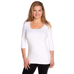 white square neck woman's top