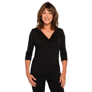 Drape front women's top in black
