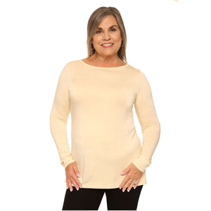 Long sleeved boat neck women's top in ivory