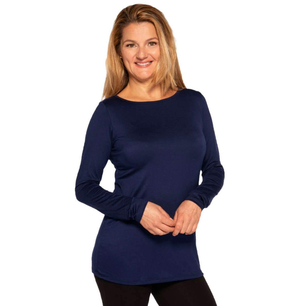 Long sleeved boat neck women's top in navy