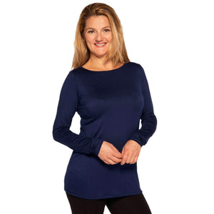 Long sleeved boat neck top Tops s / Navy Covered Perfectly