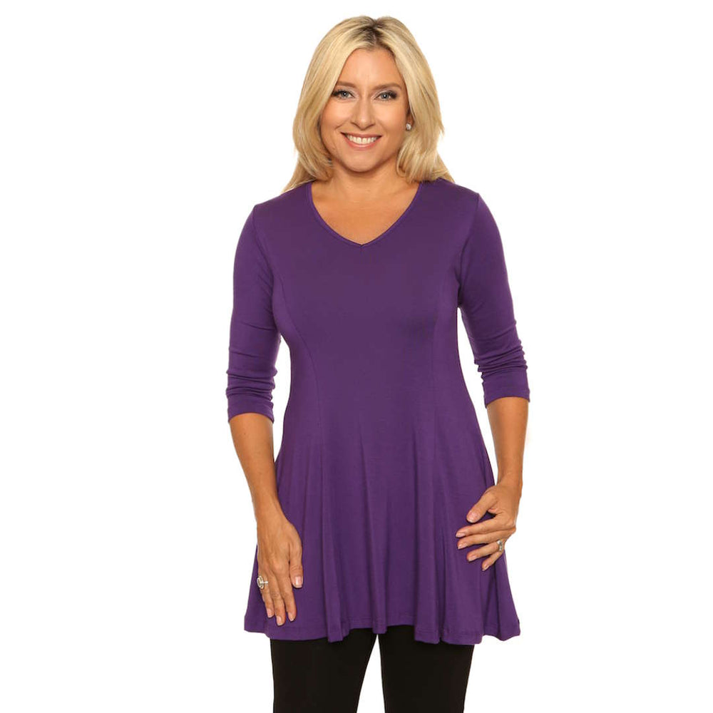 Violet v-neck fit and flare women's top
