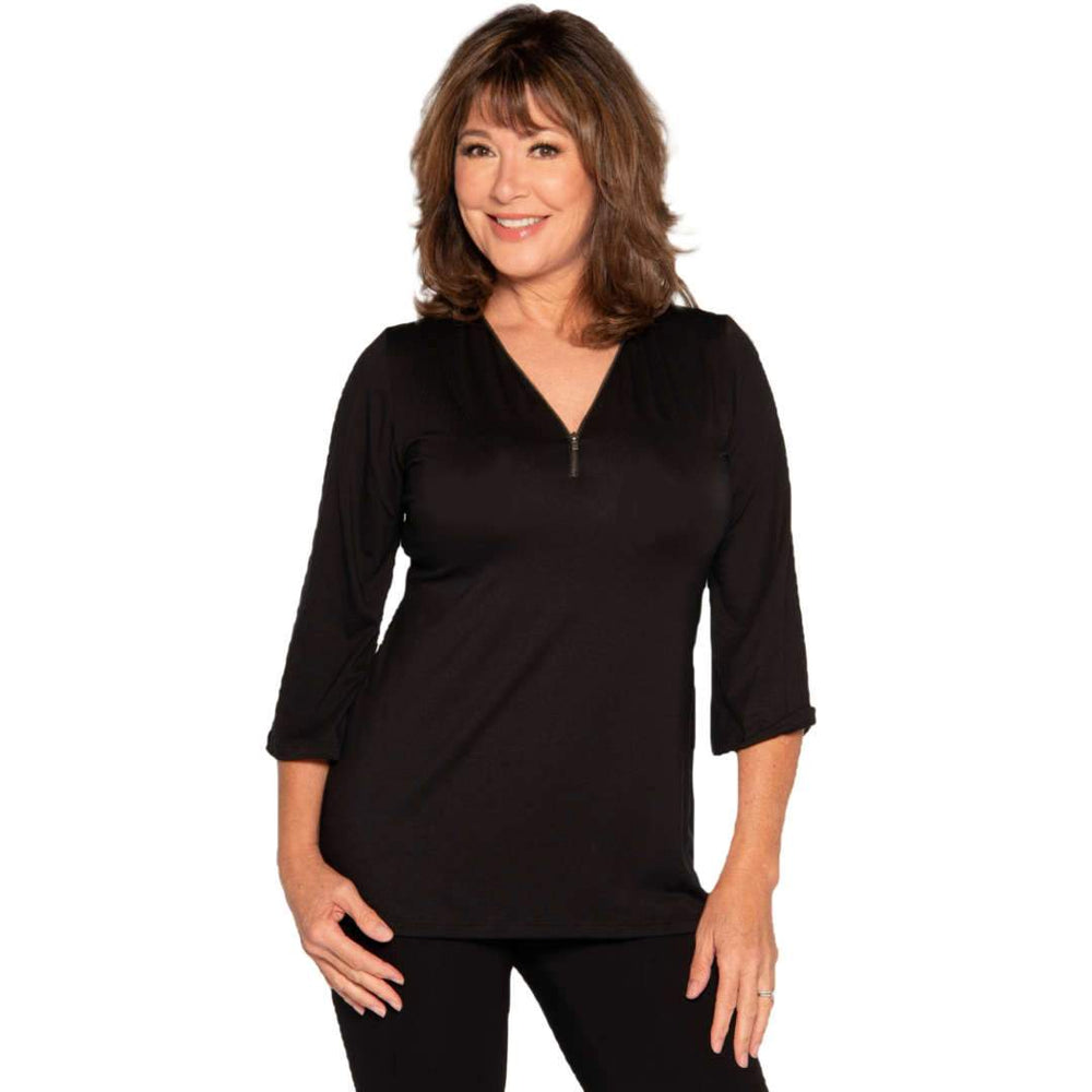 black women's top with a-line body and front zip